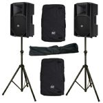 "2x RCF ART 712-A MKII 12"" 2800W Active PA Speaker + Covers + Stands 3yr Warranty"